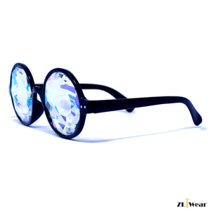ZLiWear Black Kaleidoscope Festival Glasses - Rainbow Effect