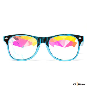 ZLiWear Metalic Blue  Kaleidoscope Glasses – Flat Back Rainbow - ZLiWear