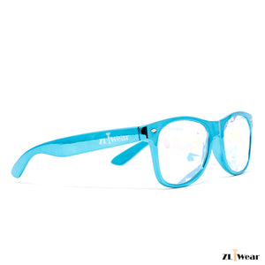 ZLiWear Metalic Blue  Kaleidoscope Glasses – Flat Back Rainbow