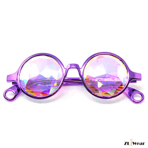 ZLiWear Metallic Purple Lightweight Kaleidoscope Glasses – Flat Back Rainbow