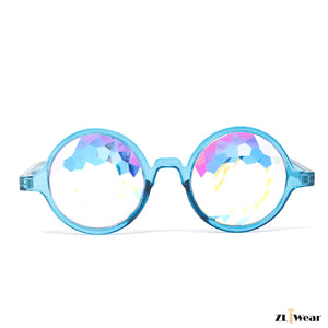 ZLiWear Lightweight Blue Kaleidoscope Glasses – Flat Back Rainbow