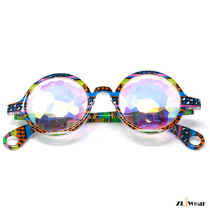 ZLiWear Tribal Kaleidoscope Glasses – Flat Back - Rainbow