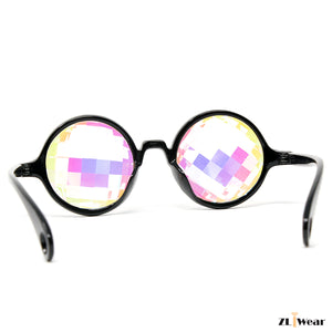 ZL iWear Bug-Eye Black Kaleidoscope Glasses with Rainbow Crystals- Flat Back