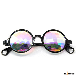ZLiWear Black Kaleidoscope Glasses -  Flat Back Bug-Eye Rainbow BA