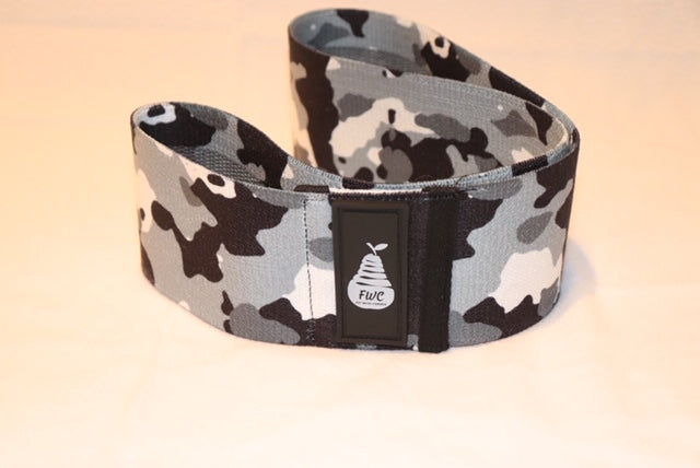 Fit With Curves Black, White, and Gray Camouflage Large Light Resistance Band 16 inches