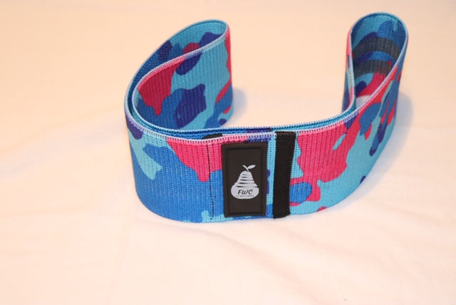 Fit With Curves Light Blue, Dark Blue, and Pink Camouflage Large Heavy Resistance Band 16 inches