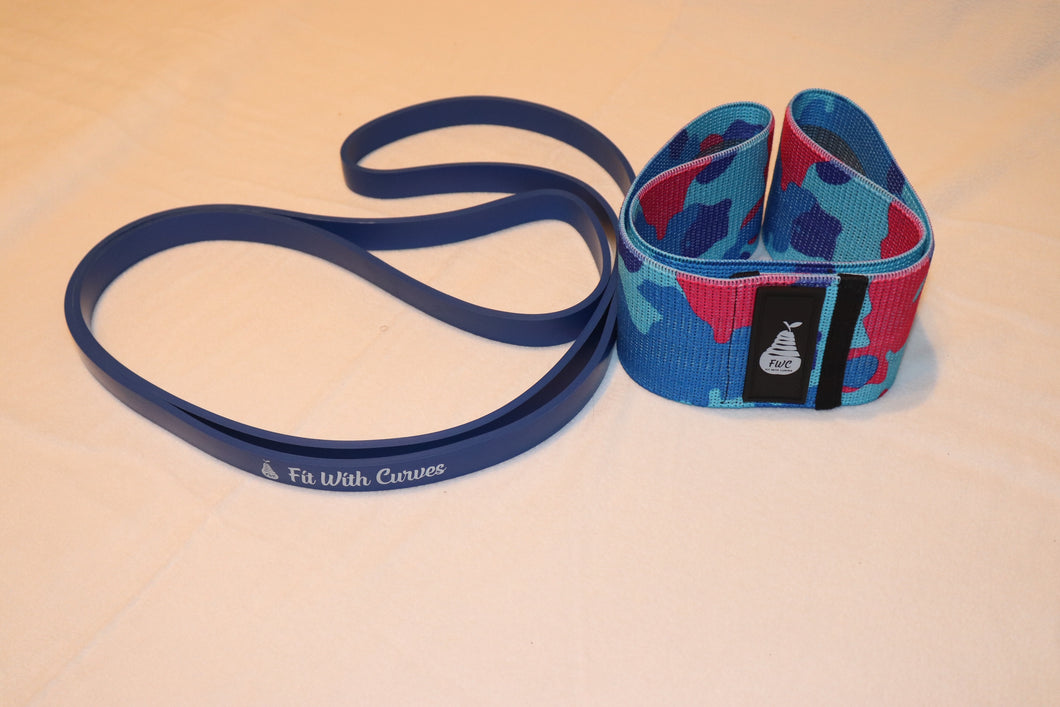 Fit With Curves Blue Super Band And Blue/ Pink Camouflage Heavy Large Mini Band Set