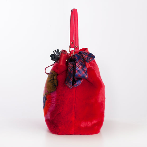 Bucket-Tasche Fake Fur Jacquard