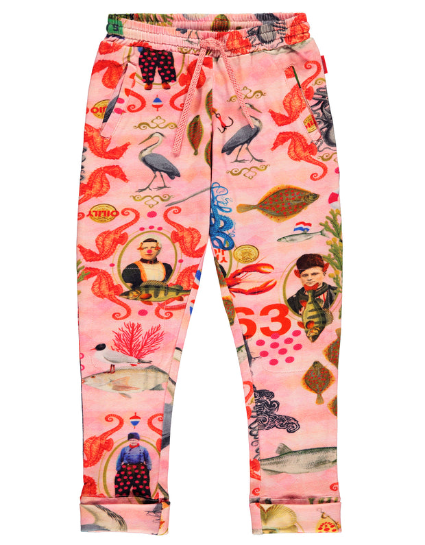 Territ rosa sweatpants mit fish story aufdruck