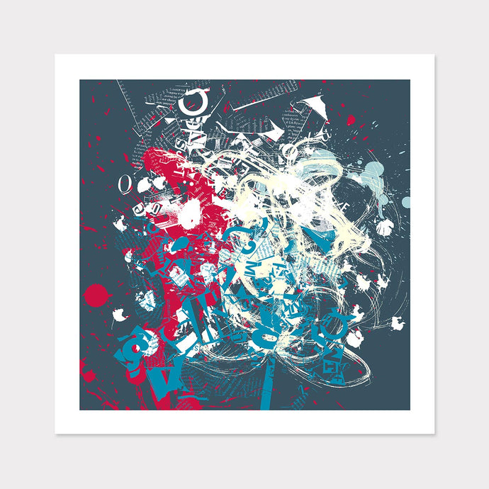 Blue and Red Abstract Typography Art for Home or Office