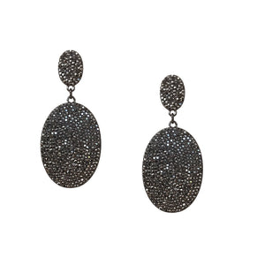Pave Oval Disc Earring