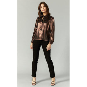 Elicia Tie Neck Lame Blouse