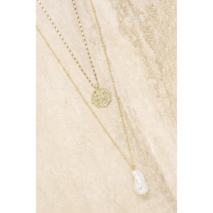 Deep Connections Pearl & Coin Charm Necklace Set