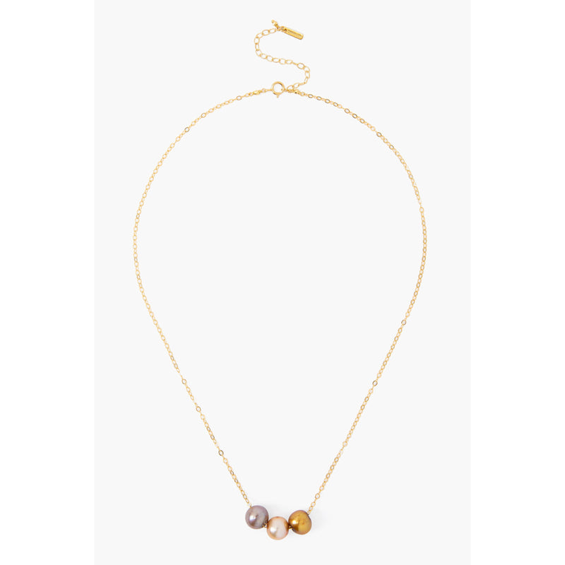 Champagne Pearl Mix Trinity Necklace