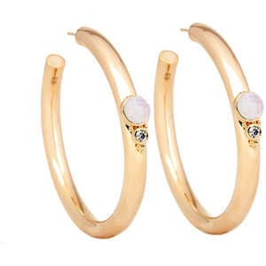 Royal Gemstone Hoop Earring