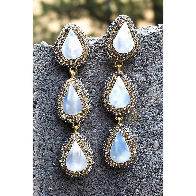 Moonlight Tiered Ilume Mother Of Pearl Earrings