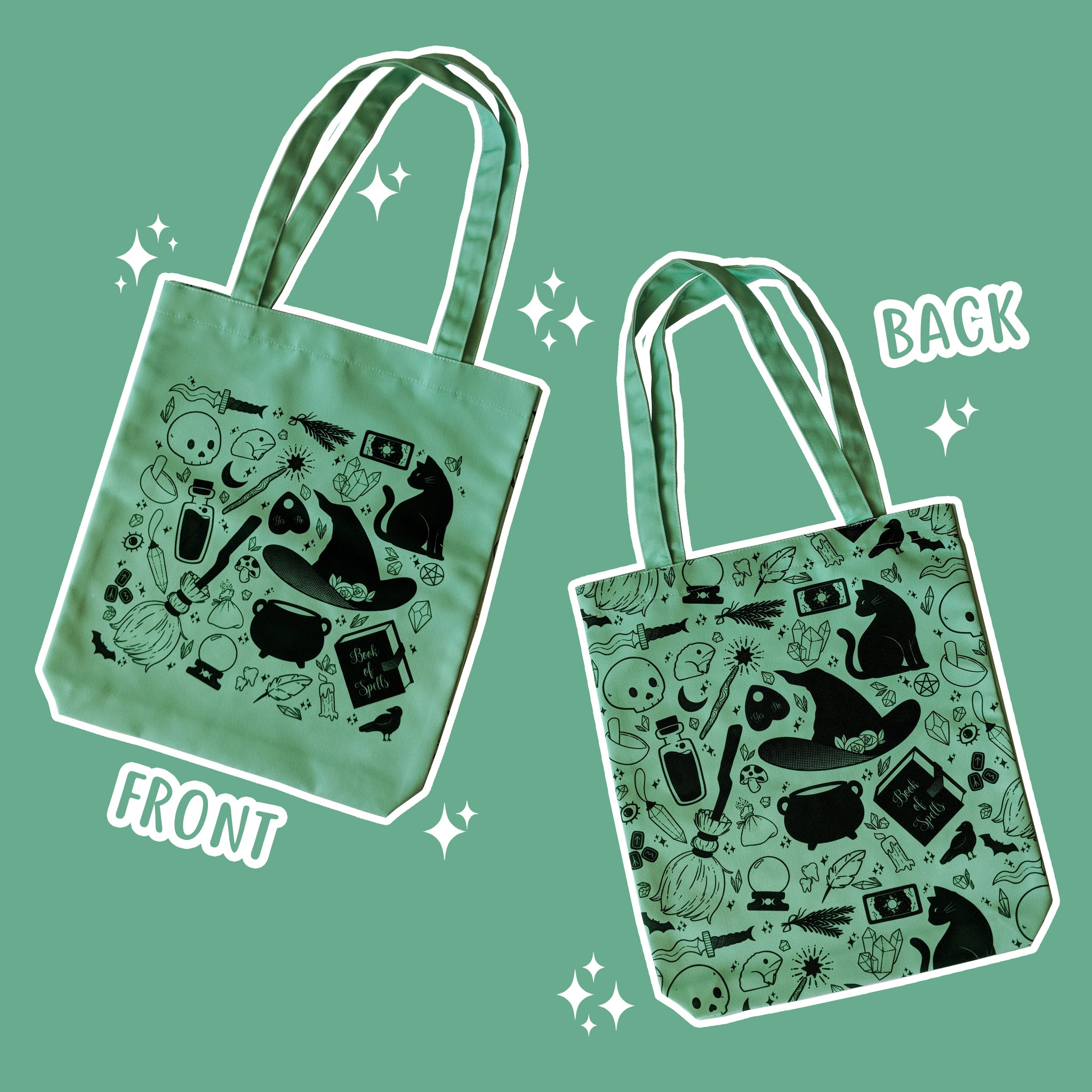 Basic Witch Supplies - Green Totebag