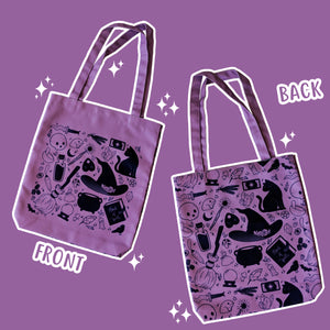 Basic Witch Supplies - Purple Totebag