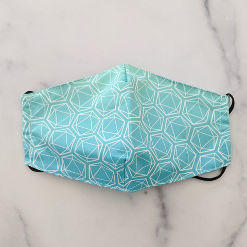 Blue-Green All Over Dice Anti-Dust Face Masks (Non-Medical) with Pocket and Charcoal Filter