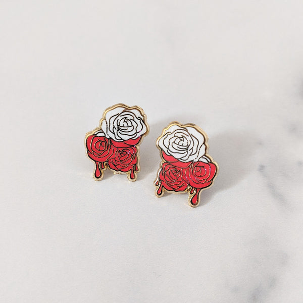 Drippy Rose Earrings - Matte Red Variant
