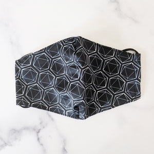 Black All Over Dice Anti-Dust Face Masks (Non-Medical) with Pocket and Charcoal Filter