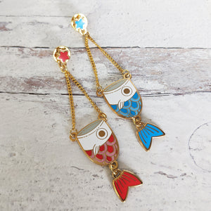 Fish Kite Dangle Enamel Pin