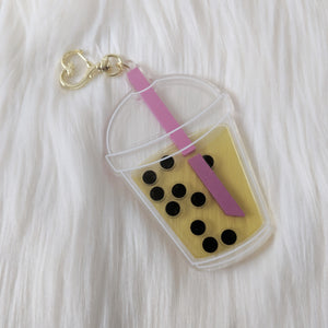 Passion Fruit Boba Milk Tea -Shaker Acrylic Charm