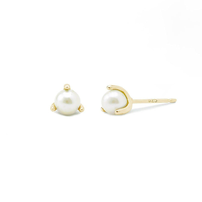 Boma New Earrings 14K Gold Vermeil Belle Pearl Studs