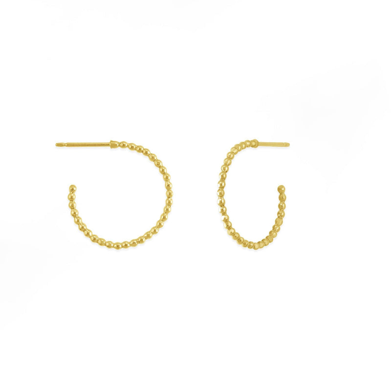Boma New -Sterling Silver with14K Gold Vermeil Dot Hoops .7""