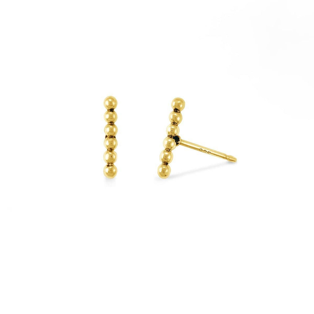 Boma New-Sterling Silver with 14K Gold Vermeil Dot Bar Studs Earrings