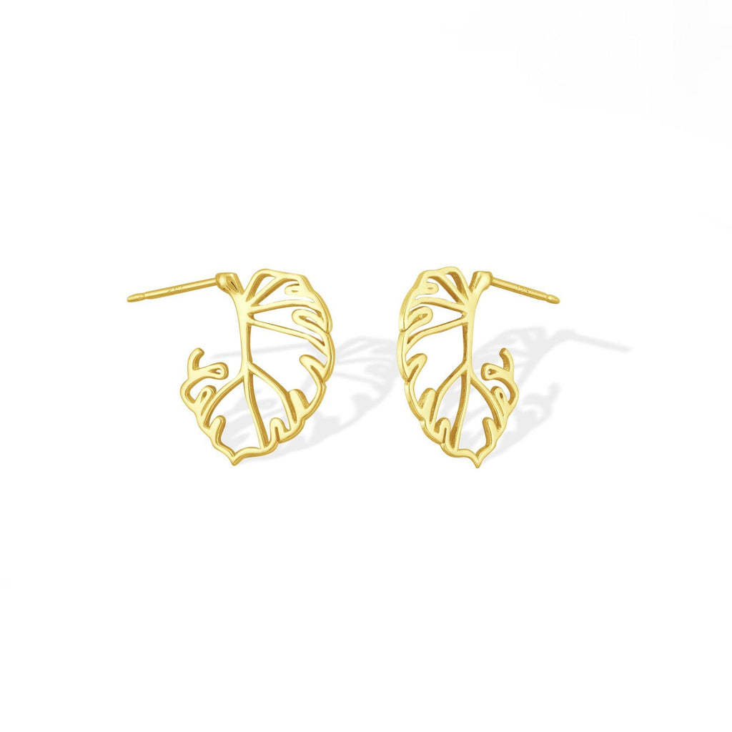 Boma New Earrings 14K Gold Vermeil Monstera Leaf Earrings