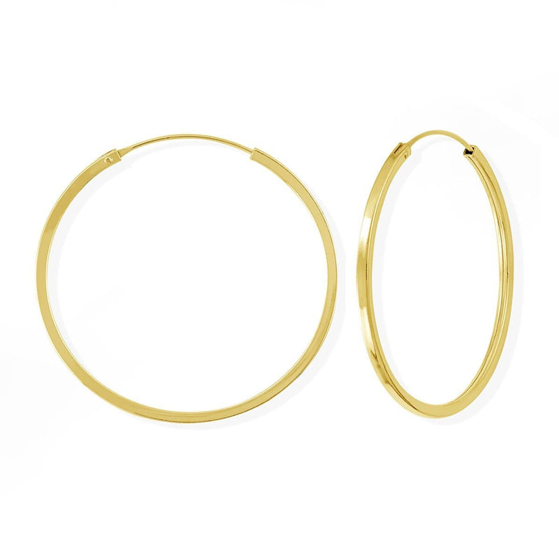 Boma New Earrings 14K Gold Vermeil Nikko Hoops 1.5""