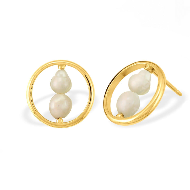 boma new sterling silver double pearl earring studs