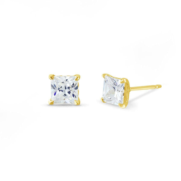 Belle Studs with Princess Cut White Topaz Earrings Boma New 14K Gold Vermeil with White Topaz