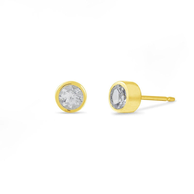 Boma New-Earrings 14K Gold Vermeil with White Topaz Belle Studs with White Topaz