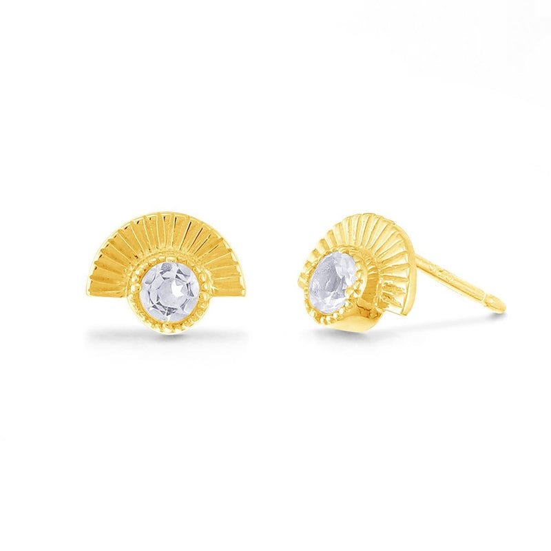 Boma New Earrings 14K Gold Vermeil with White Topaz Cosette Studs