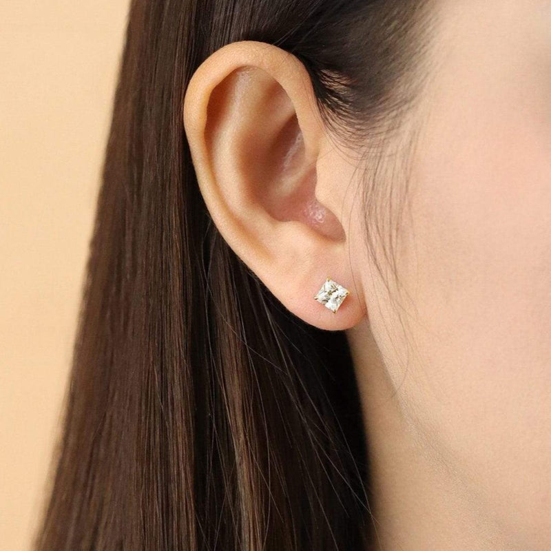 Boma New Earrings Belle Studs with Princess Cut White Topaz