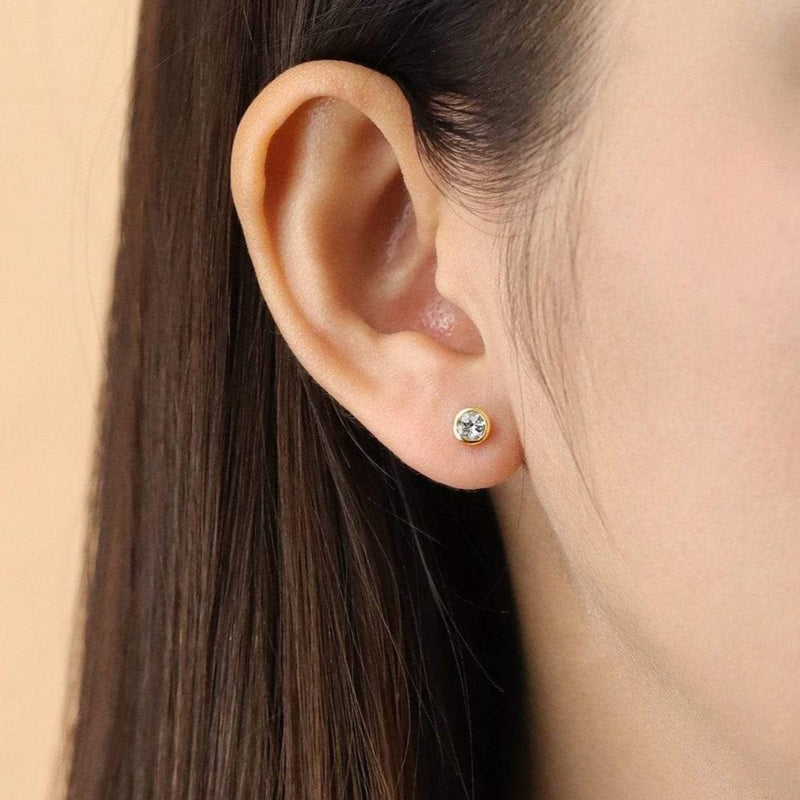 Boma New Earrings Belle Studs with White Topaz