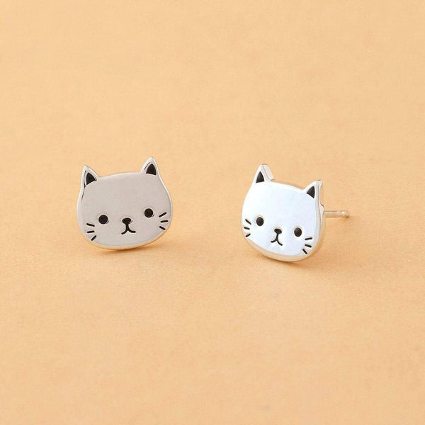 Boma New-Sterling Silver Cat Studs Cute cat earrings