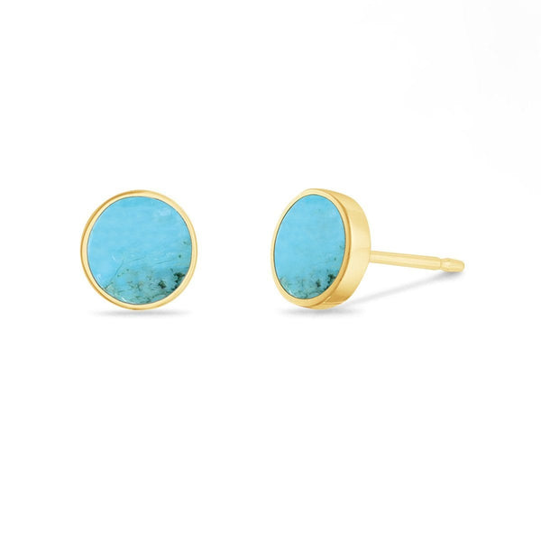Full Moon Studs with Turquoise Stone