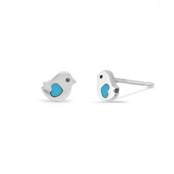 Boma New Earrings Little Bird Turquoise Heart Studs