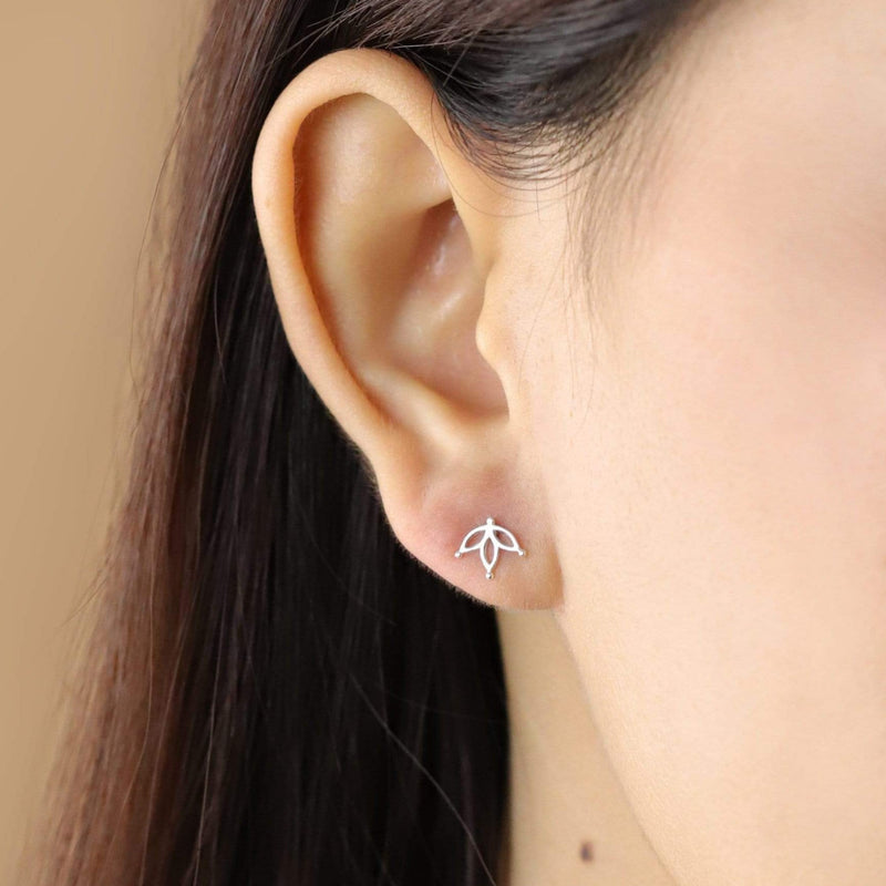 Boma New Earrings Lotus Petal Flower Studs