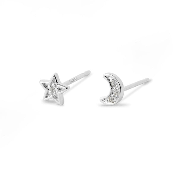 Boma New Earrings LUNE & ETOILE  Studs with  White Topaz