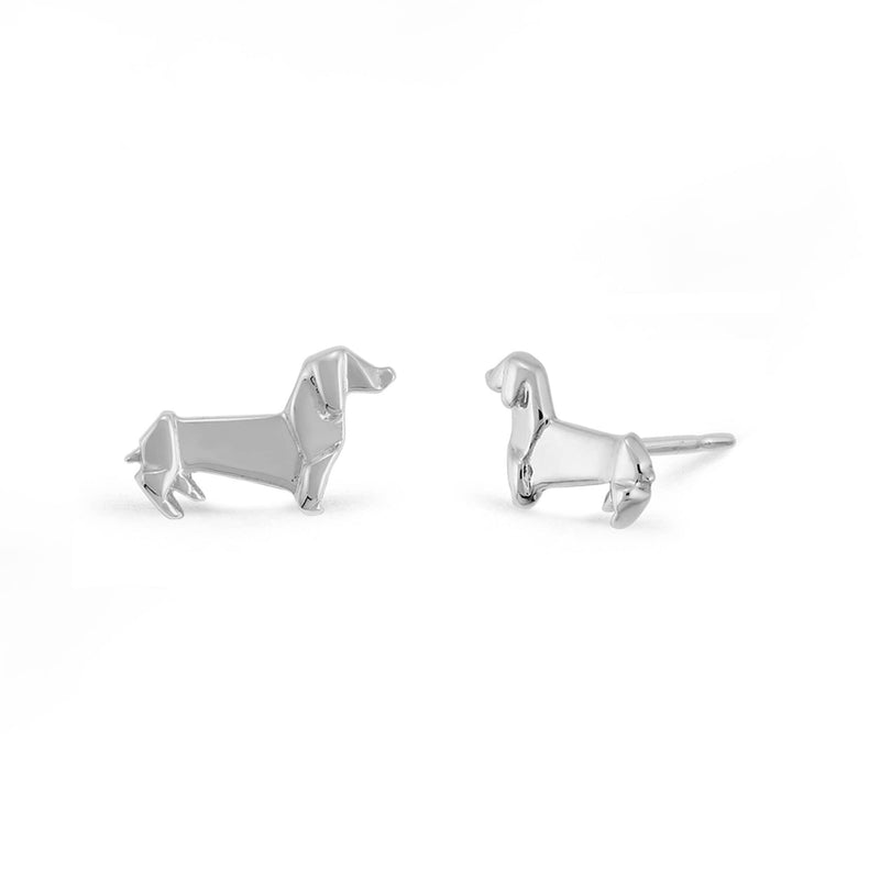 Boma New Earrings Origami Dachshund Wiener Dog Studs