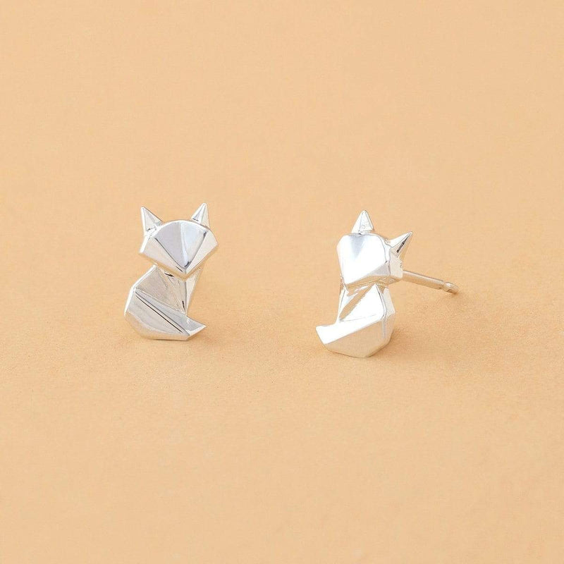 Boma New Earrings Origami Fox Studs