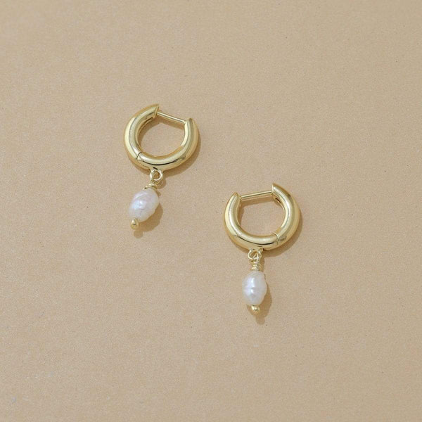 boma new pearl earring sterling silver parel mini huggies