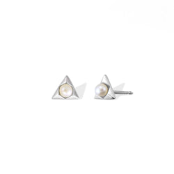 Boma New Earrings Pyramid Pearl Studs