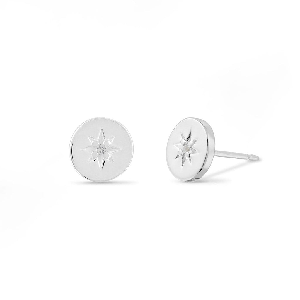 Boma New Earrings Starburst Circle Studs with White Topaz