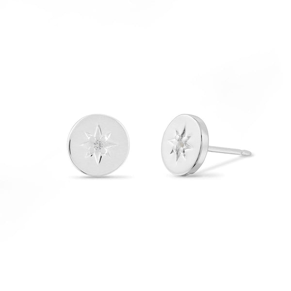 boma new Starburst Circle Studs with White Topaz