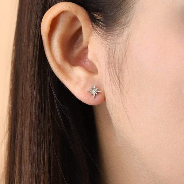 Boma New Earrings Starburst Studs with White Topaz